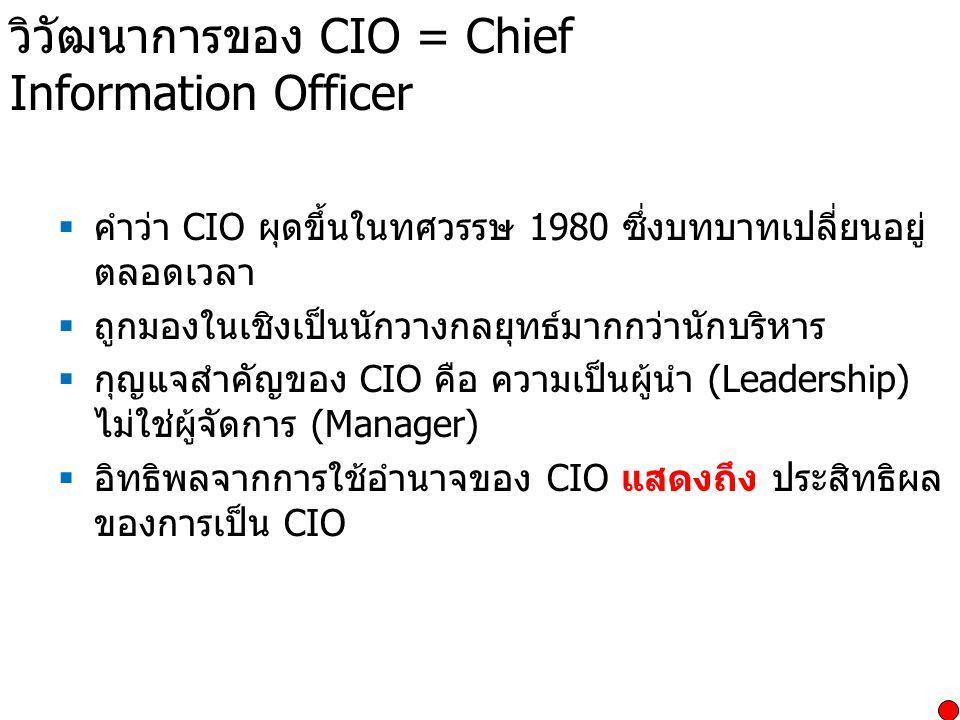 วิวัฒนาการของ CIO = Chief Information Officer