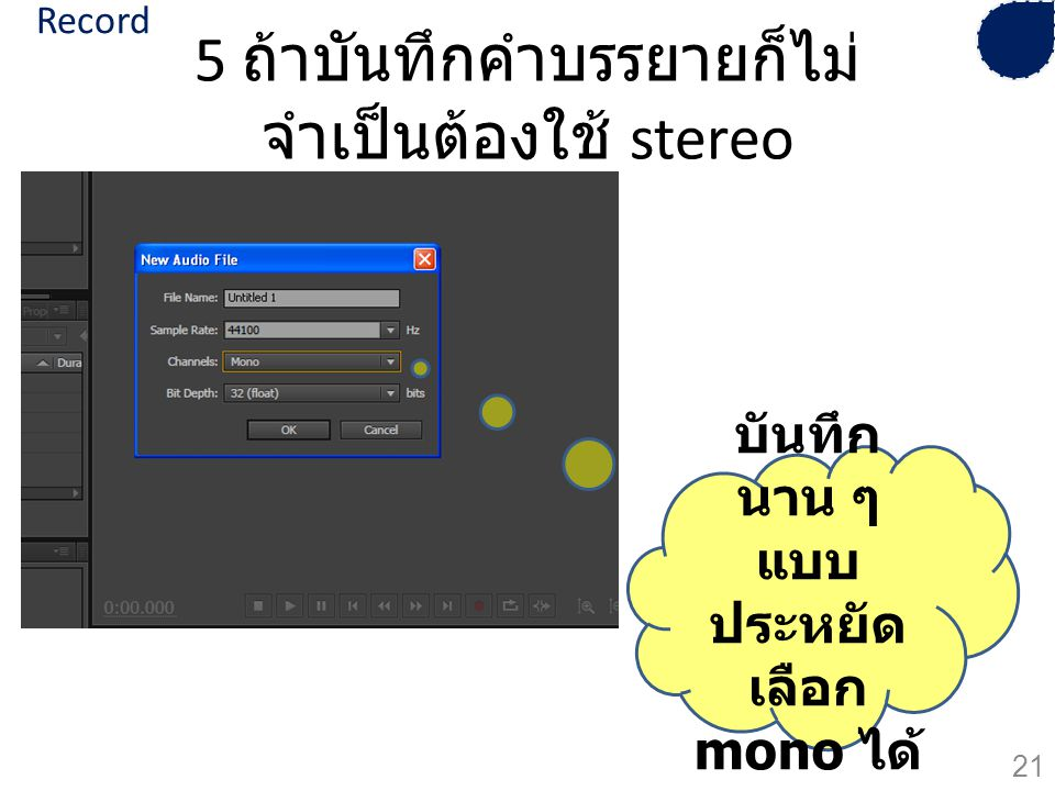 5 ถ้าบันทึกคำบรรยายก็ไม่จำเป็นต้องใช้ stereo