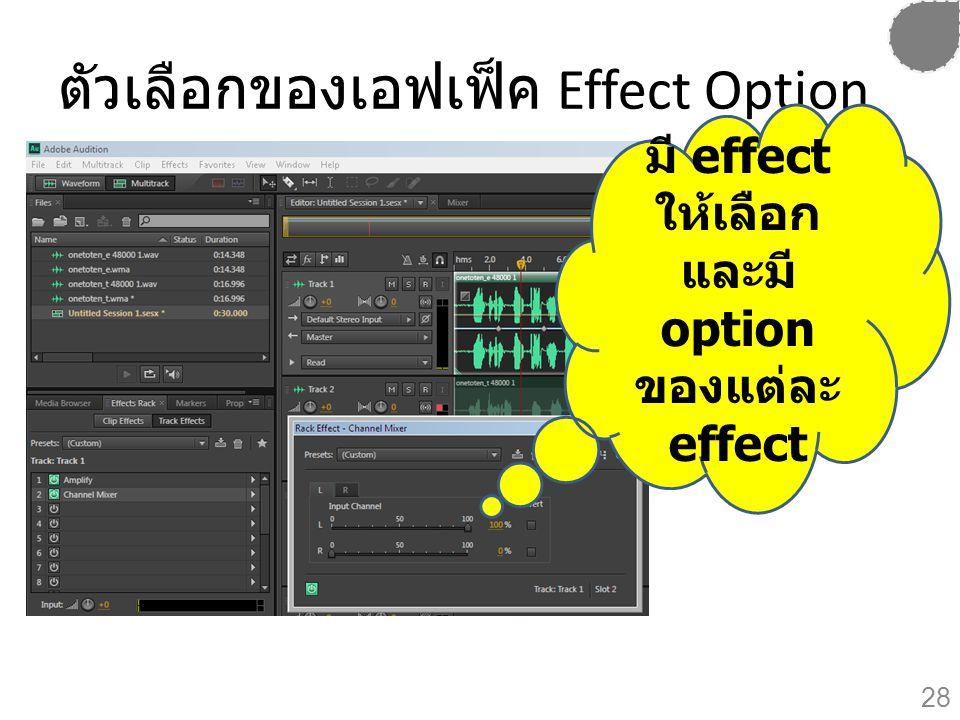 ตัวเลือกของเอฟเฟ็ค Effect Option