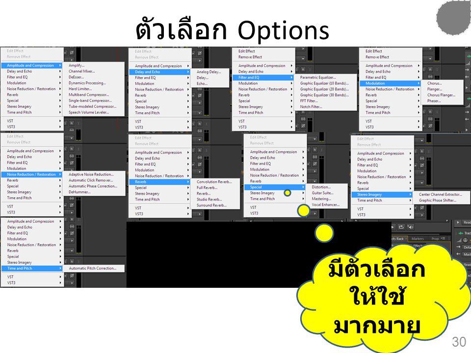 ตัวเลือก Options มีตัวเลือก ให้ใช้มากมาย