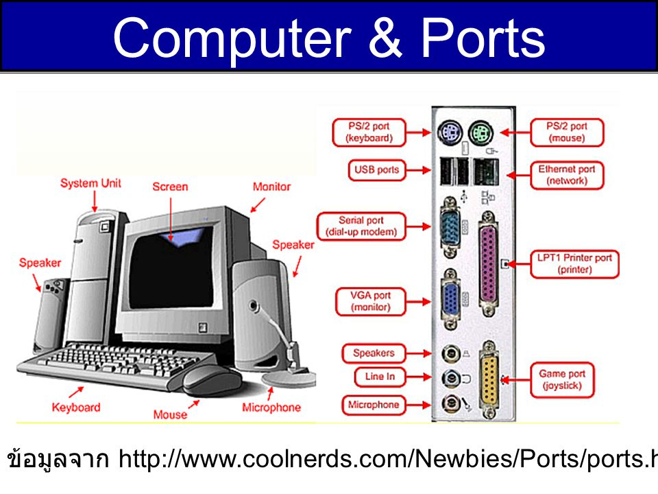 Computer & Ports ข้อมูลจาก http://www.coolnerds.com/Newbies/Ports/ports.htm