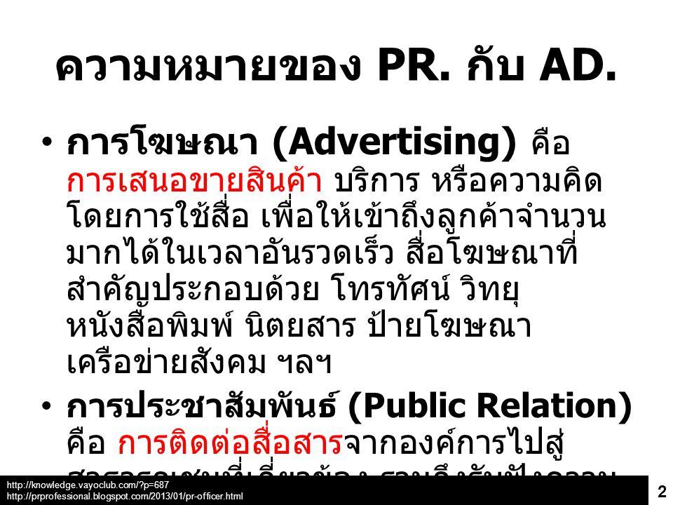 ความหมายของ PR. กับ AD.