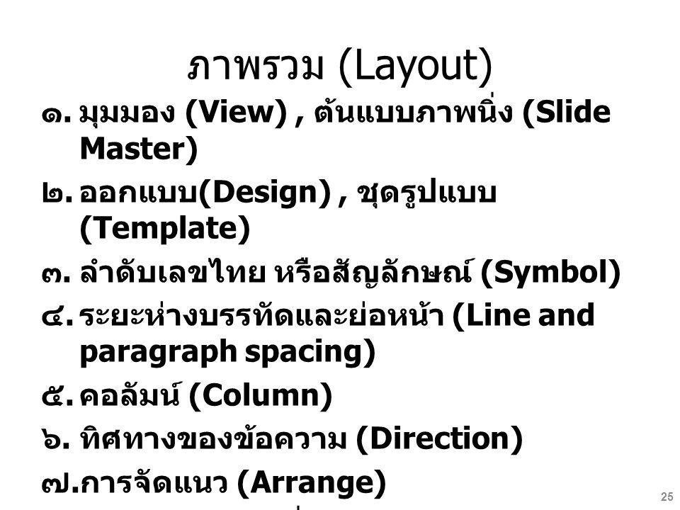 ภาพรวม (Layout) มุมมอง (View) , ต้นแบบภาพนิ่ง (Slide Master)