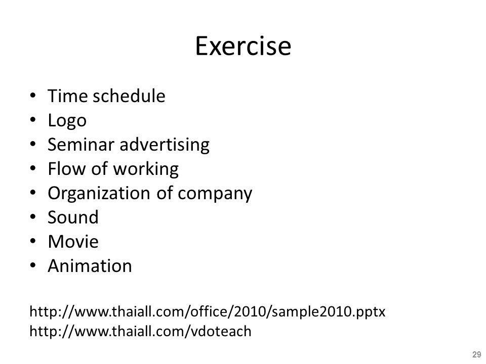 Exercise Time schedule Logo Seminar advertising Flow of working