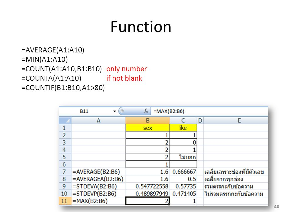 Function =AVERAGE(A1:A10) =MIN(A1:A10)