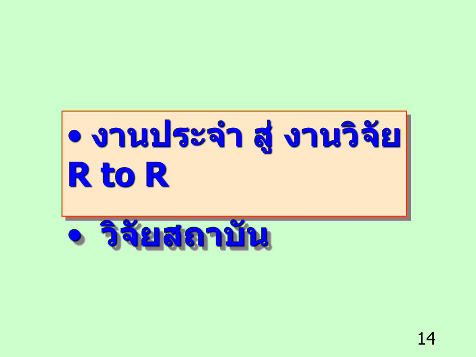 งานประจำ สู่ งานวิจัย R to R