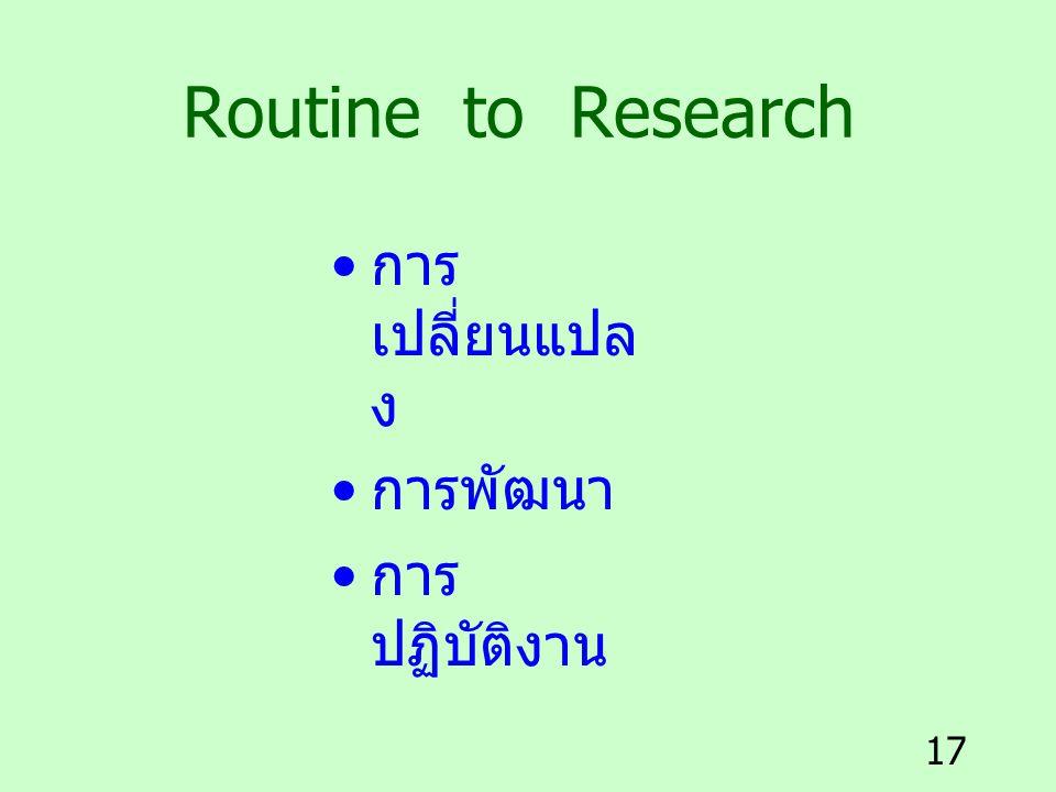 Routine to Research การเปลี่ยนแปลง การพัฒนา การปฏิบัติงาน
