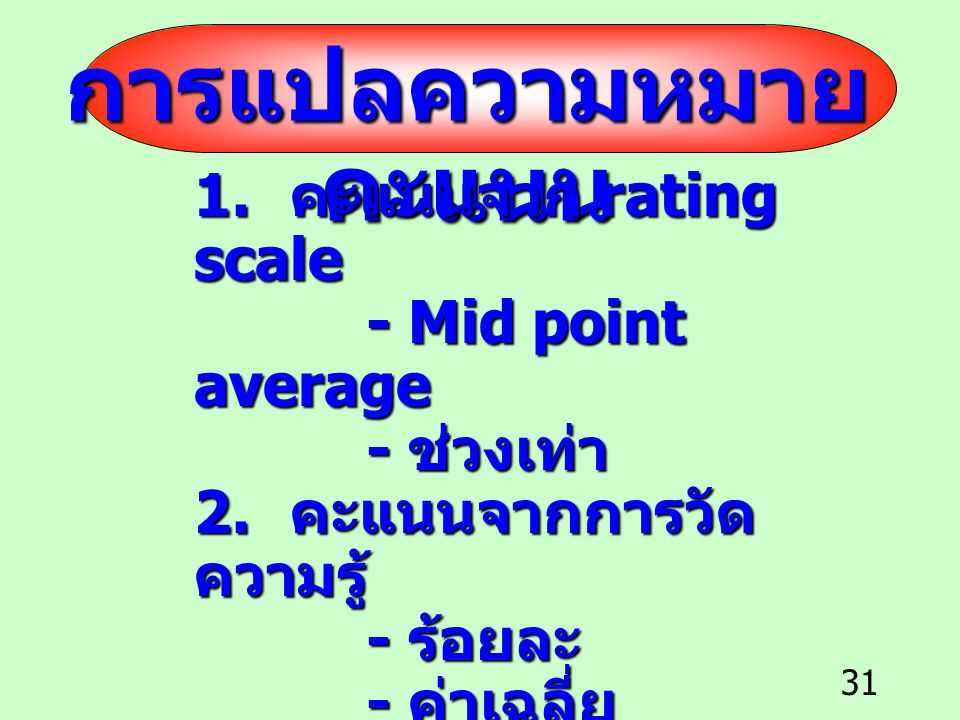 การแปลความหมายคะแนน 1. คะแนนจาก rating scale - Mid point average