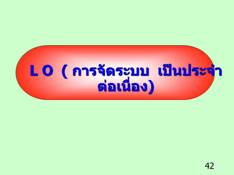 L O ( การจัดระบบ เป็นประจำ ต่อเนื่อง)
