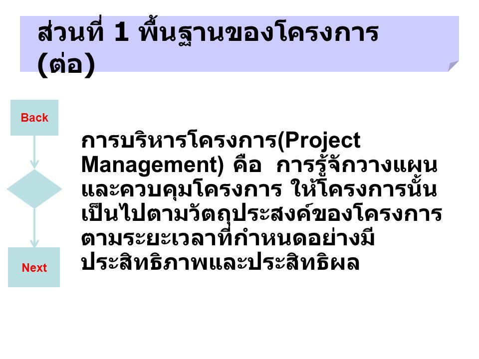 ส่วนที่ 1 พื้นฐานของโครงการ (ต่อ)