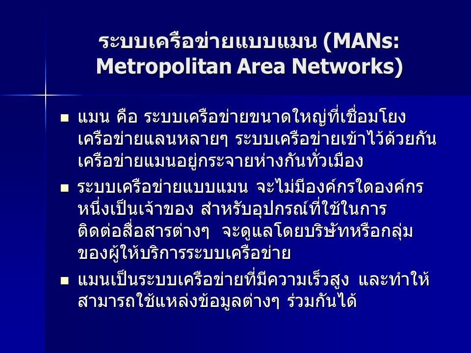 ระบบเครือข่ายแบบแมน (MANs: Metropolitan Area Networks)