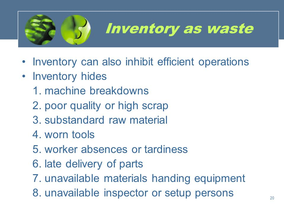 Inventory as waste Inventory can also inhibit efficient operations