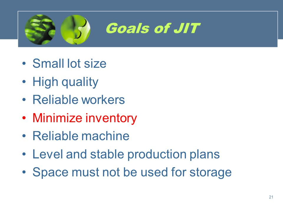 Goals of JIT Small lot size High quality Reliable workers