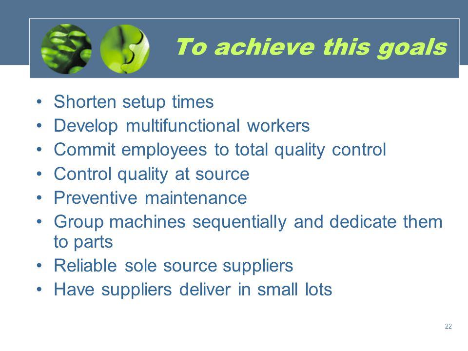 To achieve this goals Shorten setup times