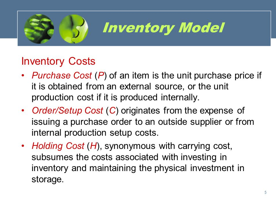 Inventory Model Inventory Costs