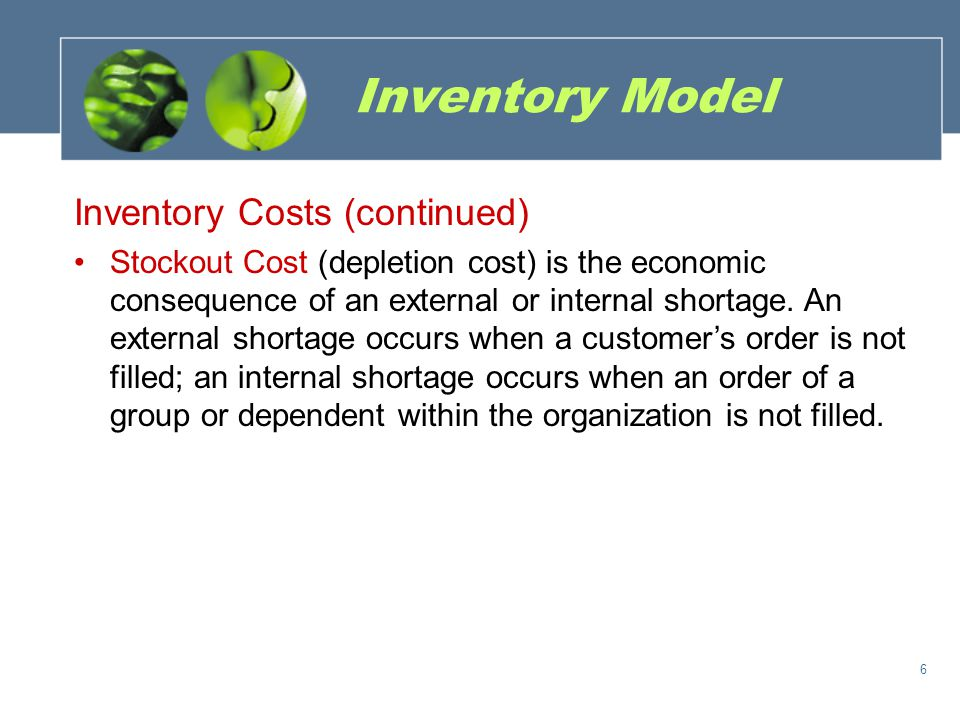 Inventory Model Inventory Costs (continued)