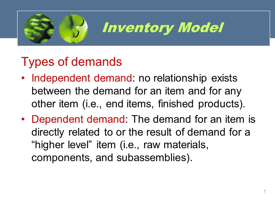 Inventory Model Types of demands