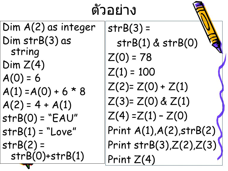 ตัวอย่าง Dim A(2) as integer Dim strB(3) as string Dim Z(4) A(0) = 6