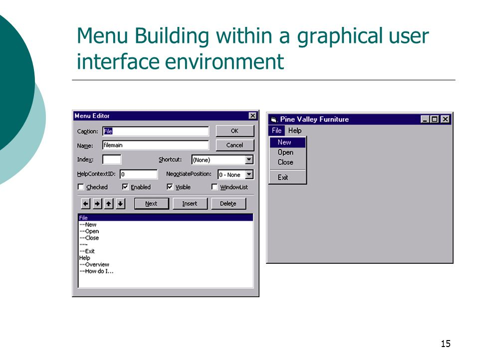Menu Building within a graphical user interface environment