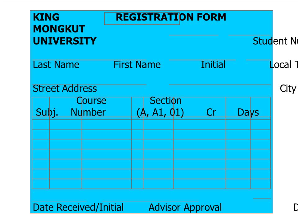 KING REGISTRATION FORM