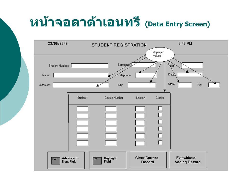 หน้าจอดาต้าเอนทรี (Data Entry Screen)