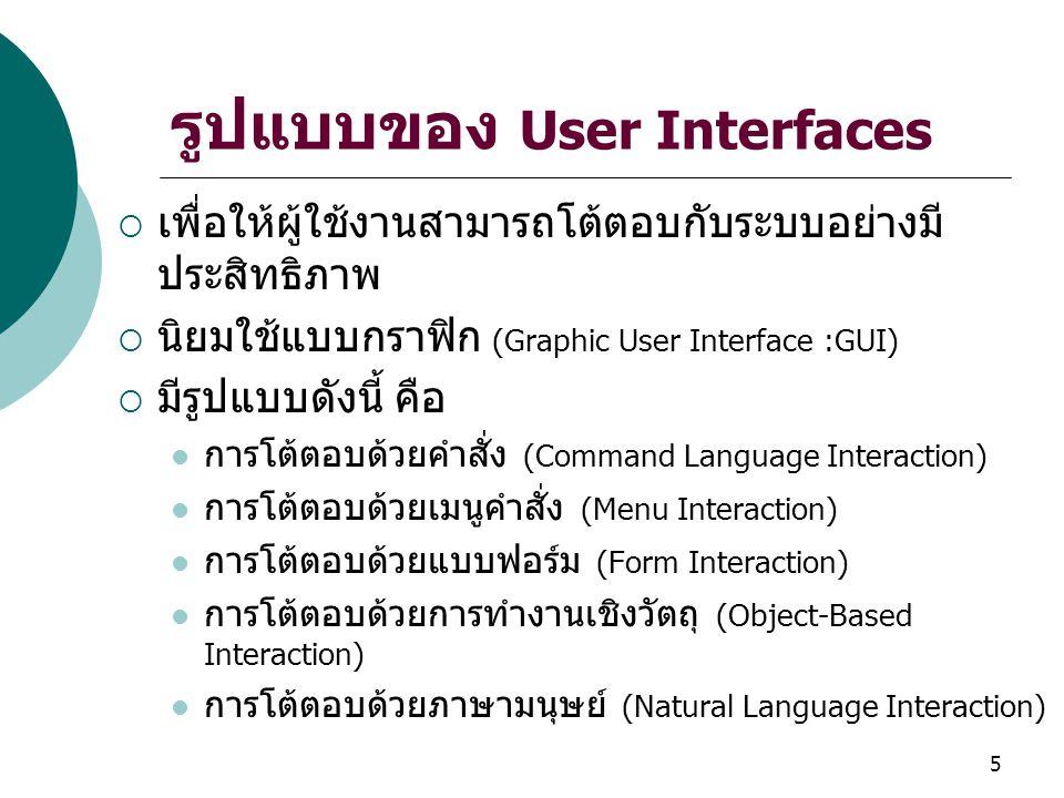 รูปแบบของ User Interfaces