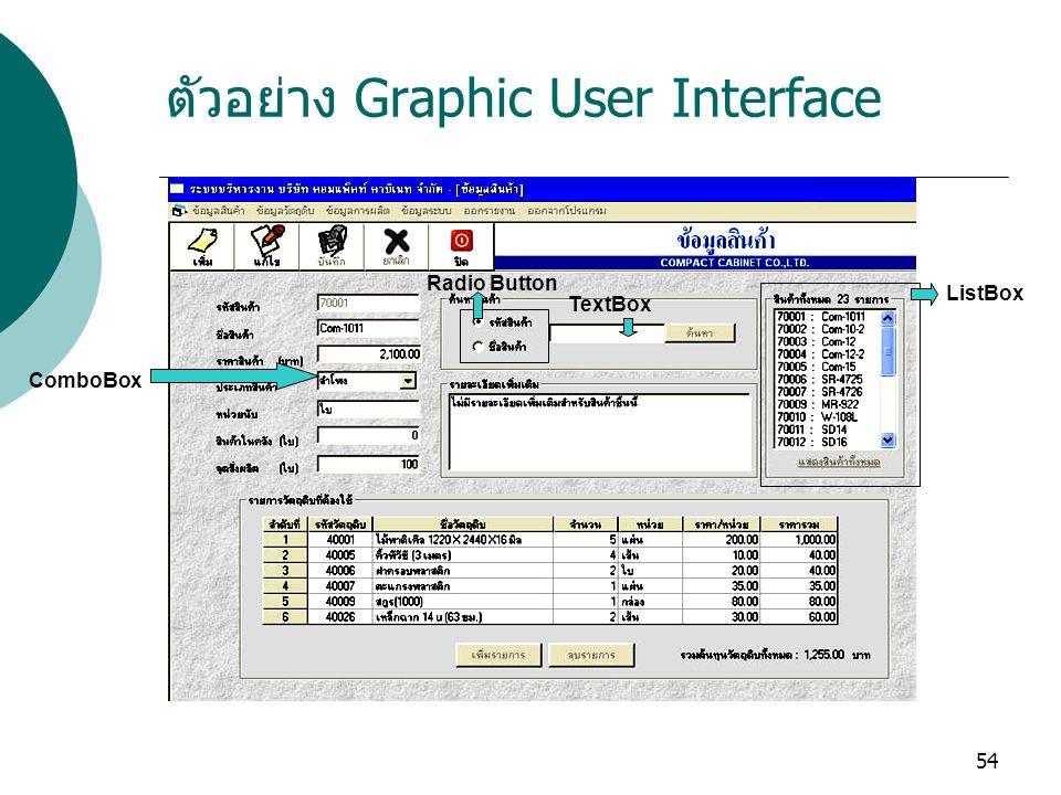 ตัวอย่าง Graphic User Interface