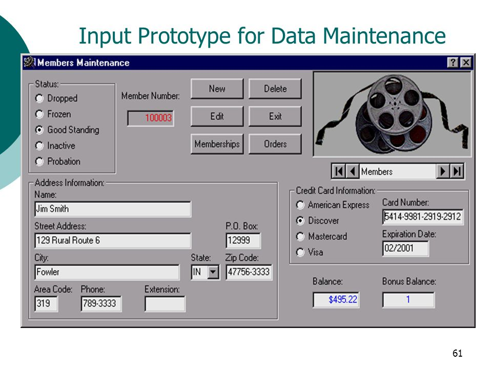Input Prototype for Data Maintenance