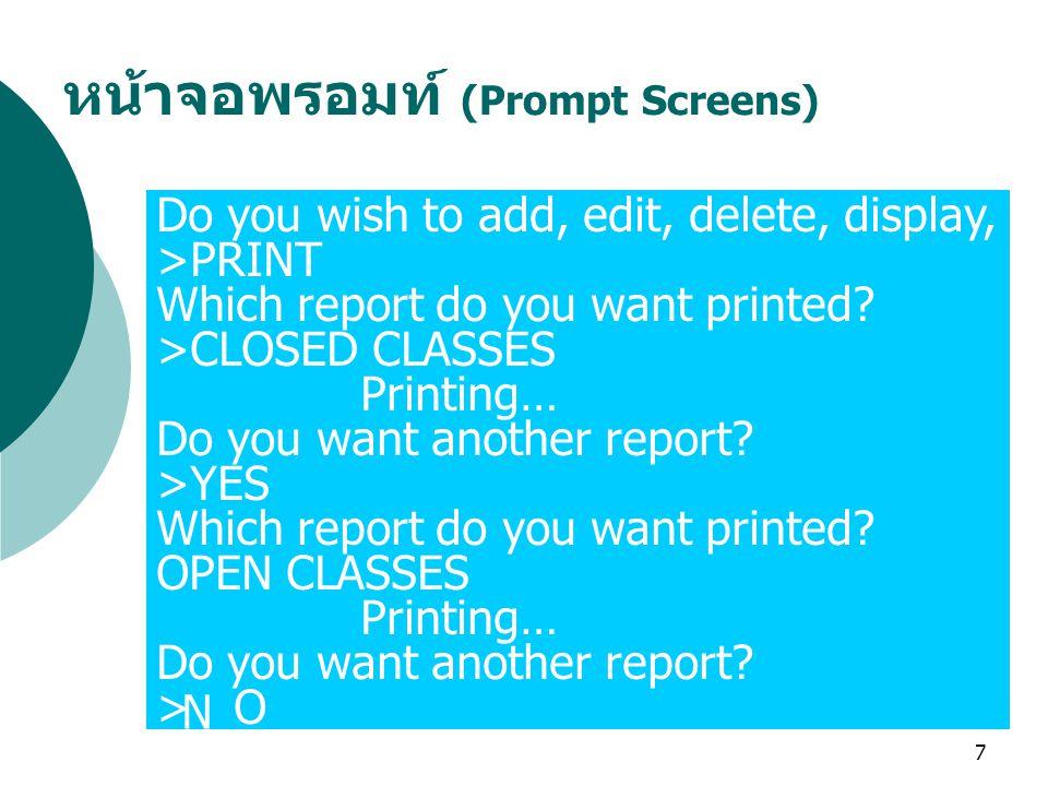 หน้าจอพรอมท์ (Prompt Screens)