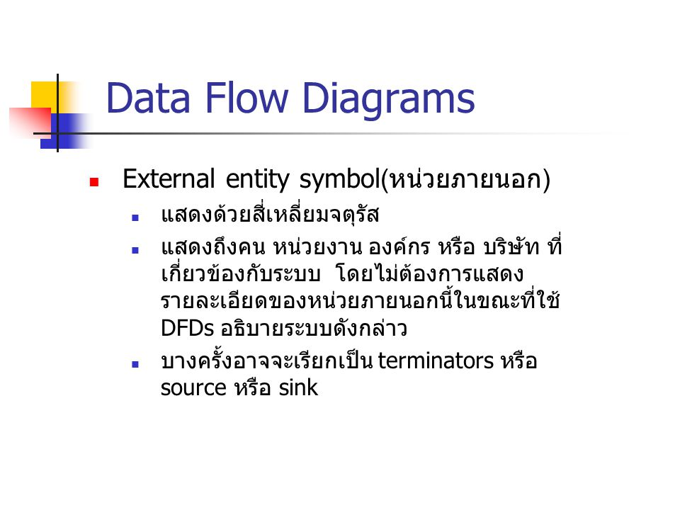 Data Flow Diagrams External entity symbol(หน่วยภายนอก)