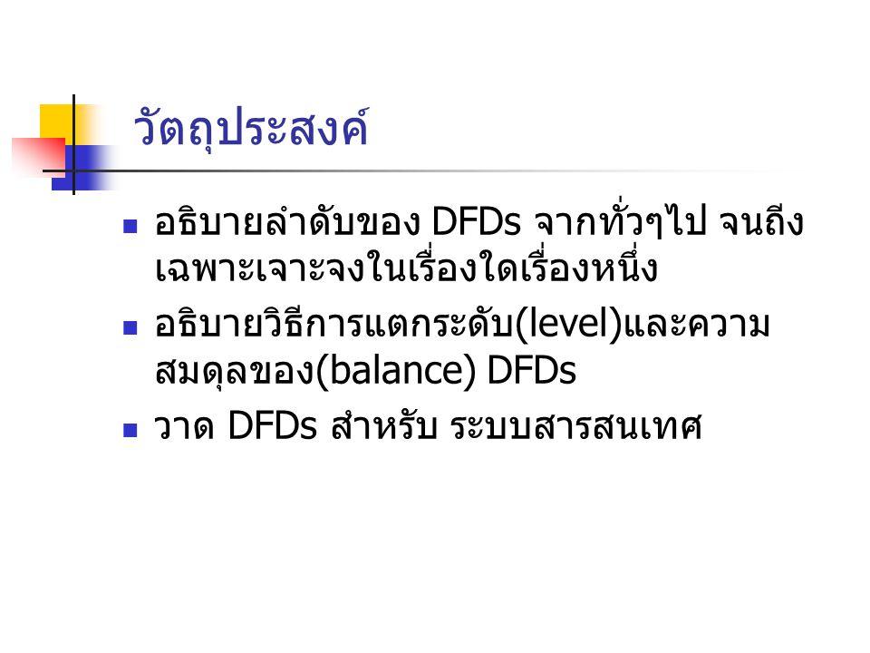 วัตถุประสงค์ อธิบายลำดับของ DFDs จากทั่วๆไป จนถีง เฉพาะเจาะจงในเรื่องใดเรื่องหนึ่ง. อธิบายวิธีการแตกระดับ(level)และความสมดุลของ(balance) DFDs.