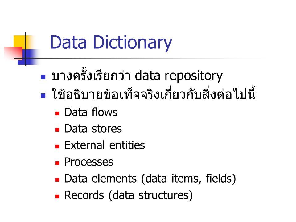 Data Dictionary บางครั้งเรียกว่า data repository