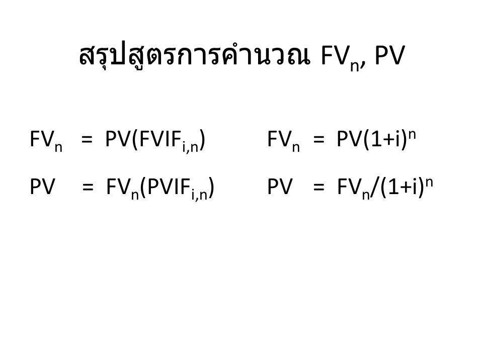 สรุปสูตรการคำนวณ FVn, PV