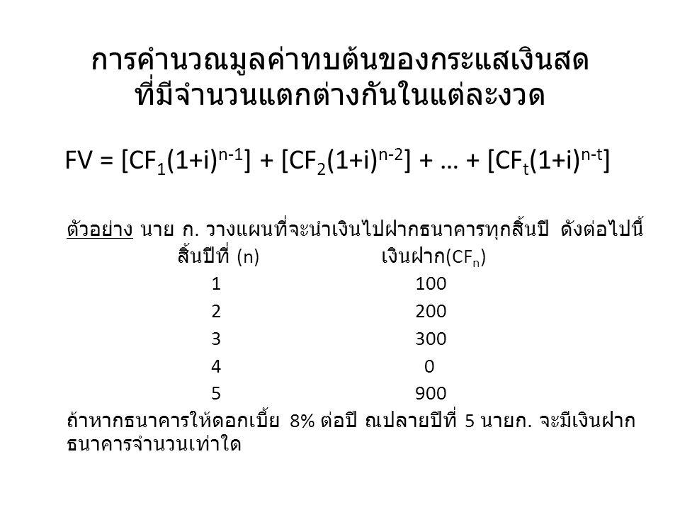 การคำนวณมูลค่าทบต้นของกระแสเงินสด ที่มีจำนวนแตกต่างกันในแต่ละงวด