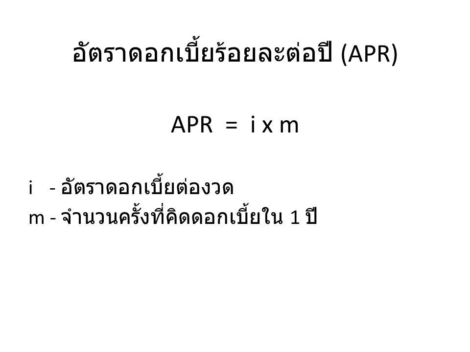 อัตราดอกเบี้ยร้อยละต่อปี (APR)