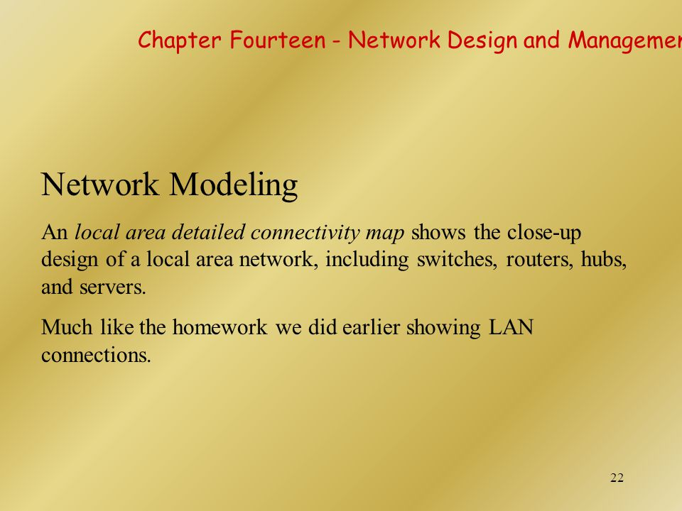Network Modeling Chapter Fourteen - Network Design and Management