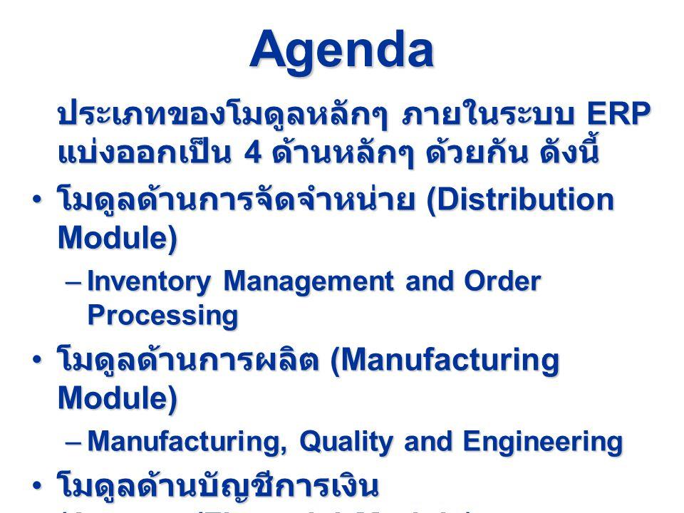 Agenda ประเภทของโมดูลหลักๆ ภายในระบบ ERP แบ่งออกเป็น 4 ด้านหลักๆ ด้วยกัน ดังนี้ โมดูลด้านการจัดจำหน่าย (Distribution Module)