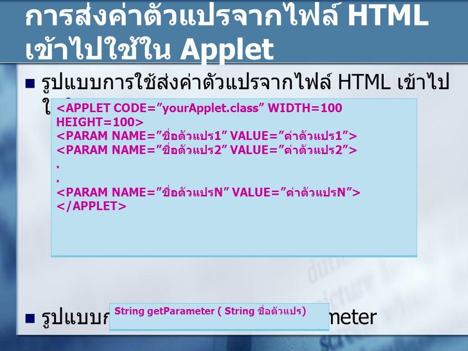 การส่งค่าตัวแปรจากไฟล์ HTML เข้าไปใช้ใน Applet