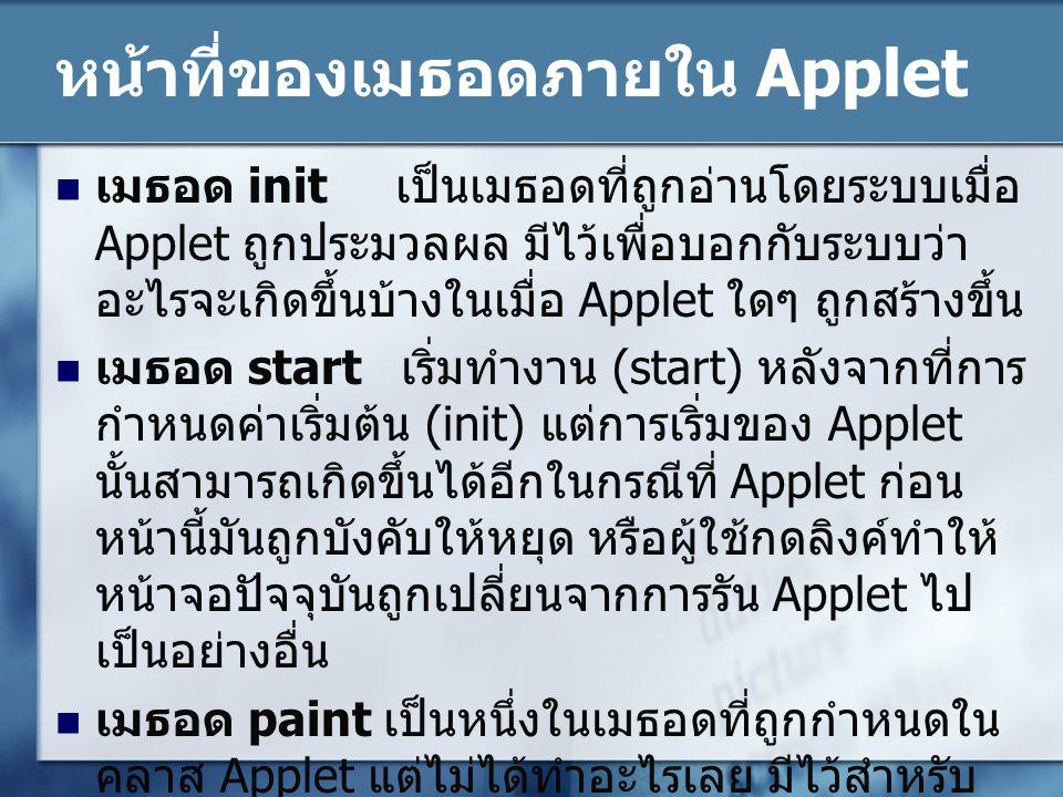 หน้าที่ของเมธอดภายใน Applet