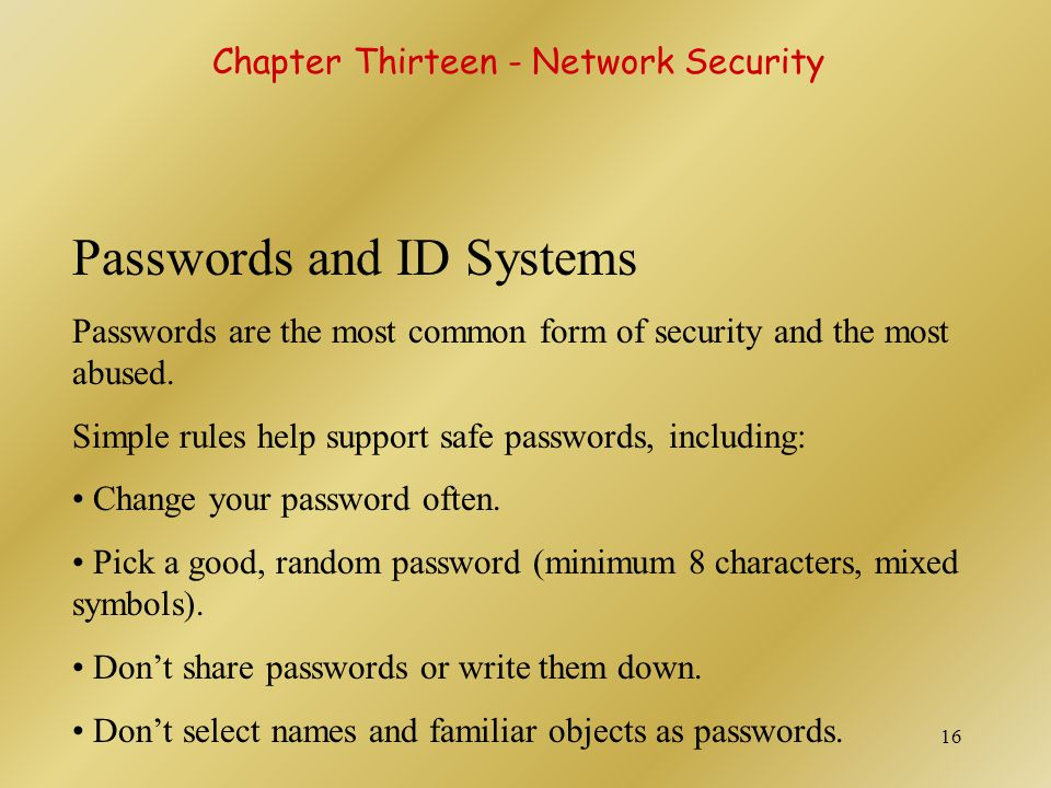 Passwords and ID Systems