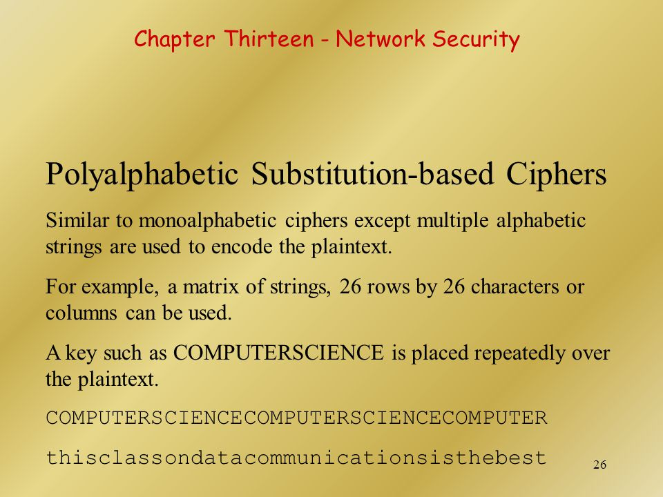 Polyalphabetic Substitution-based Ciphers