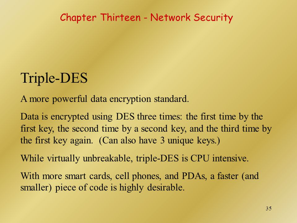 Triple-DES Chapter Thirteen - Network Security