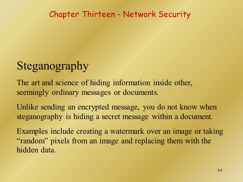 Steganography Chapter Thirteen - Network Security