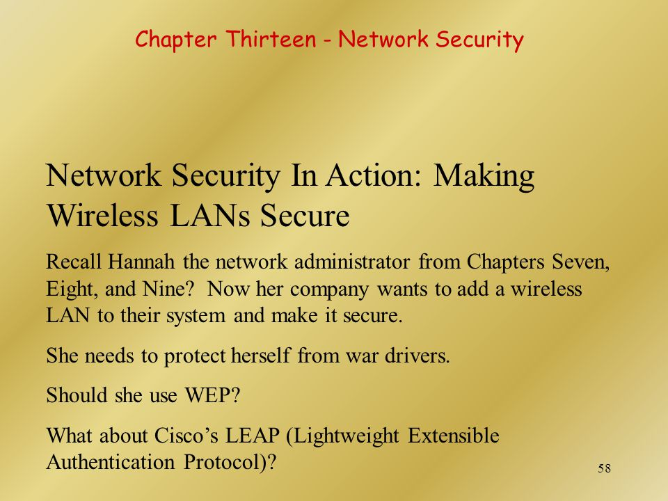 Network Security In Action: Making Wireless LANs Secure