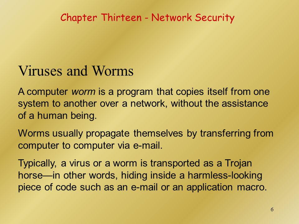 Viruses and Worms Chapter Thirteen - Network Security