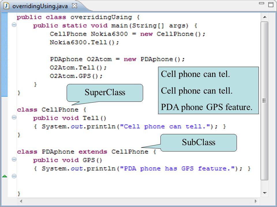 Method รูปแบบต่างๆ ตัวอย่าง Overriding method Cell phone can tel.