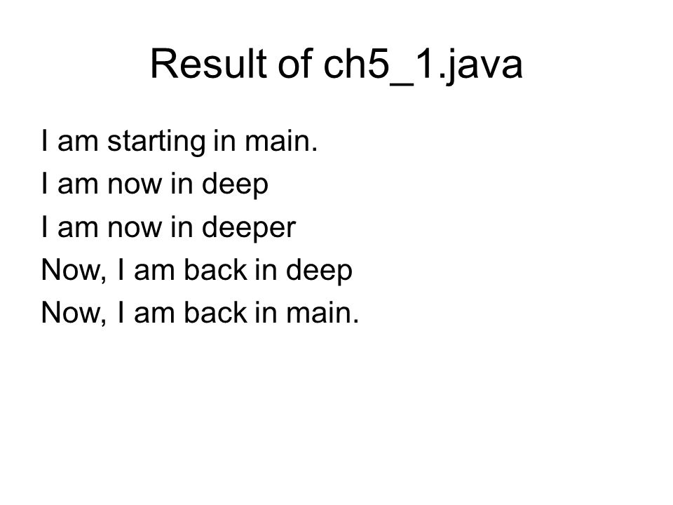 Result of ch5_1.java I am starting in main. I am now in deep