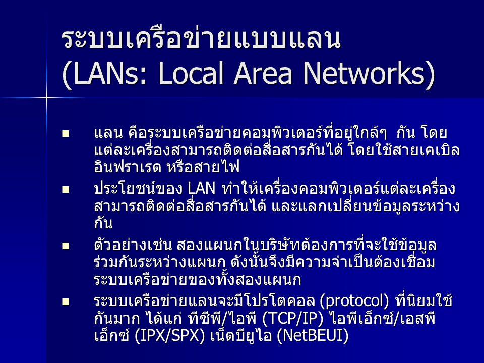 ระบบเครือข่ายแบบแลน (LANs: Local Area Networks)