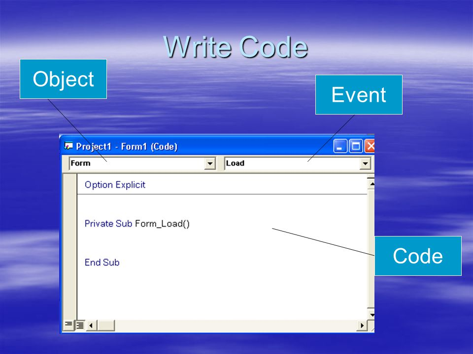 Write Code Object Event Code