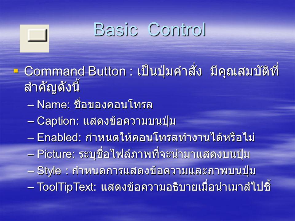 Basic Control Command Button : เป็นปุ่มคำสั่ง มีคุณสมบัติที่สำคัญดังนี้ Name: ชื่อของคอนโทรล. Caption: แสดงข้อความบนปุ่ม.